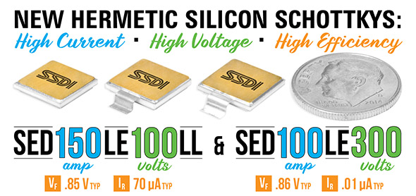 SED150LE100LL (150 A, 100 V Hermetic Silicon Schottky) and SED100LE300 (100 A, 300 V Hermetic Silicon Schottky)