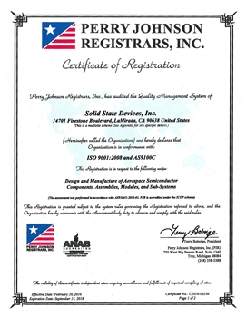SSDI AS9100 QMS Certificate
